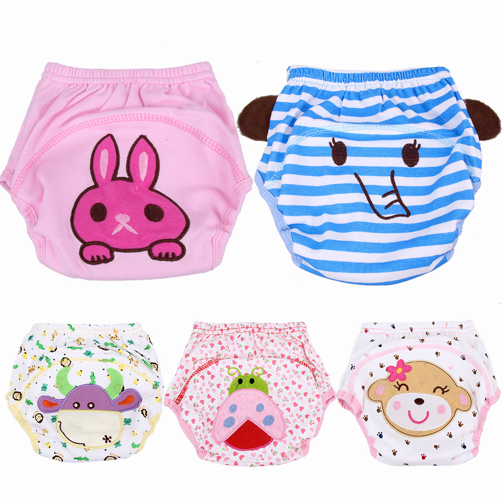 Baby Diapers Breathable Soft Cotton Diaper Cartoon Toddler Girls Boys Waterproof Potty Training Pants Reusable Nappies Panties