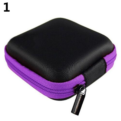 Square Pocket Hard Case Storage Bag for Headphone Earphone Earbuds TF SD Card