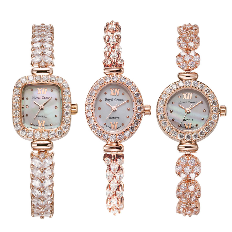 Women's Watch Japan Quartz Fashion Luxury Jewelry Crystal Hours Mother-of-pearl Clock Rhinestone Girl's Gift Royal Crown Box