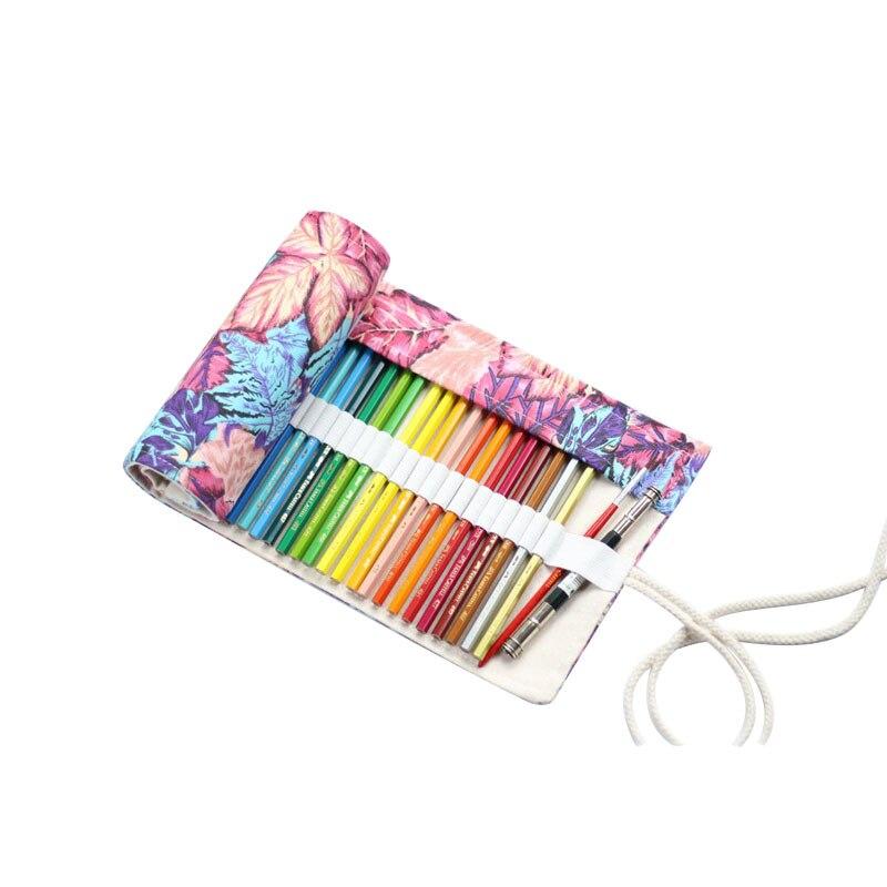 все цены на Maple Leaf Penalty Canvas School Pencil Case 36/48/72 Holes Roll Pencilcase Large Pen Bag Colored Pouch Estuche Escolar Supplies
