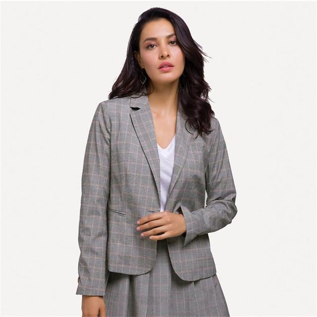 2018 New Gray Plaid Office Lady Blazer Jacket Fashion Single Button Suit Jacket Women Elegant Work Blazers Plus Size Talever