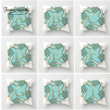 Fuwatacchi Alphabet A-Z Cushion Cover Gold Letter Pillow Flower Throw Pillows Soft Decorative Pillowcase For Home Sofa