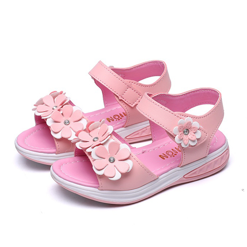 COZULMA Kids Brethable Summer Shoes Girls Princess Beach Sandals Children New Flower Anti-Slipper Sandals Size 27-37