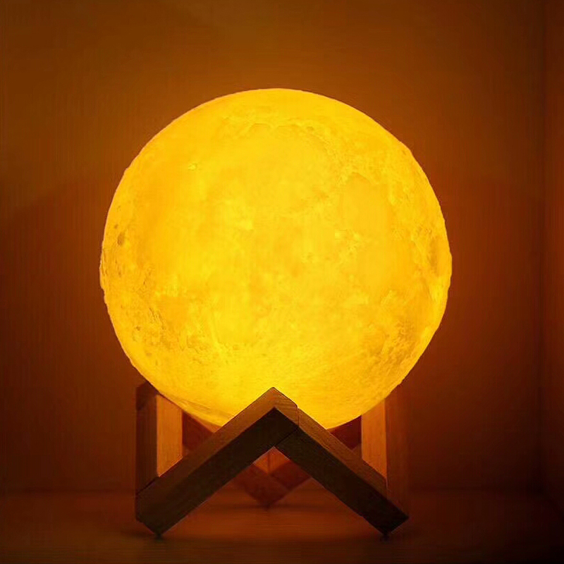 USB Rechargeable 3D Print Moon Lamp 2 Color Touch Bedroom table Night Light Decor blub Creative Gift Luminaria chargeable blub