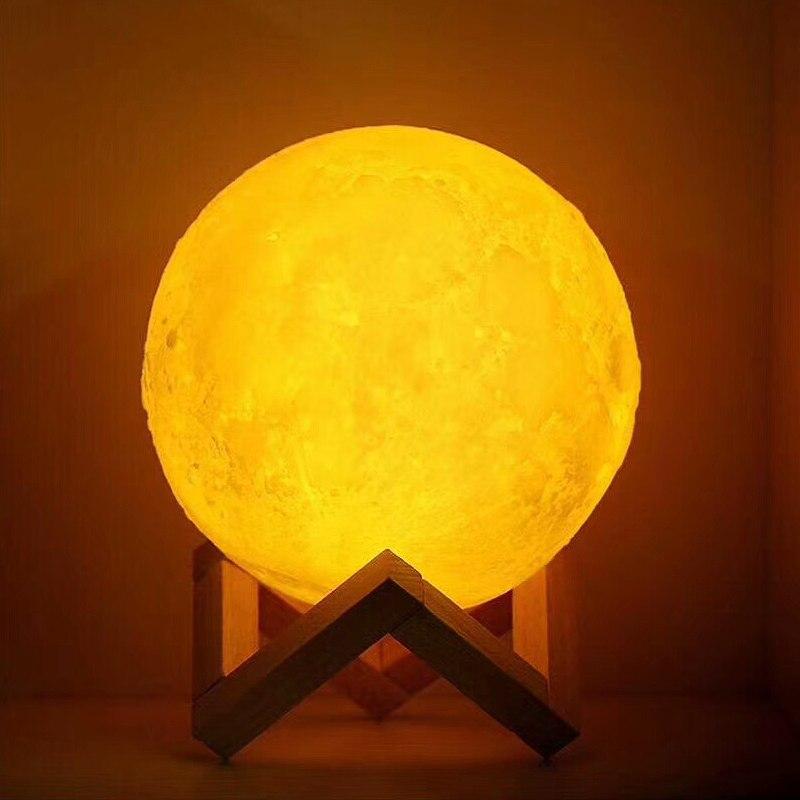 USB recargable 3D impresión lámpara Luna 2 Color Touch mesa de dormitorio noche Decoración Luz blub regalo creativo Luminaria recargable blub