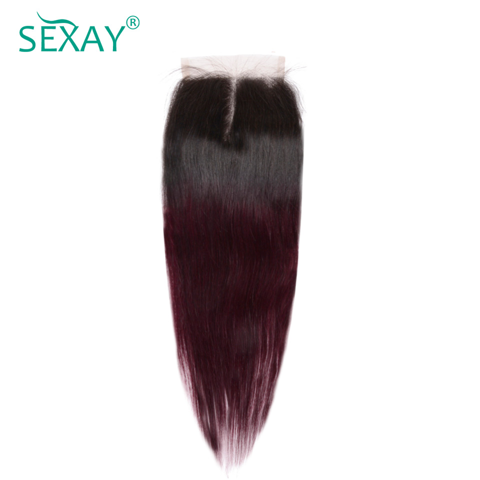Sexay Ombre Brazilian Straight Hair Light Brown Lace Closures 2 Tone T1B/99J Burgundy Ombre Brazilian Human Hair Lace Closures