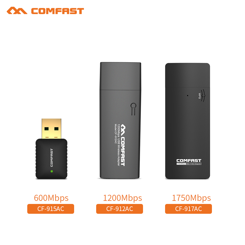 COMFAST 600M&1200M&1750Mbps USB WiFi Adapter 2.4G 5GHz WiFi Antenna PC Mini Wireless Computer Network Card Receiver Wi-fi Router
