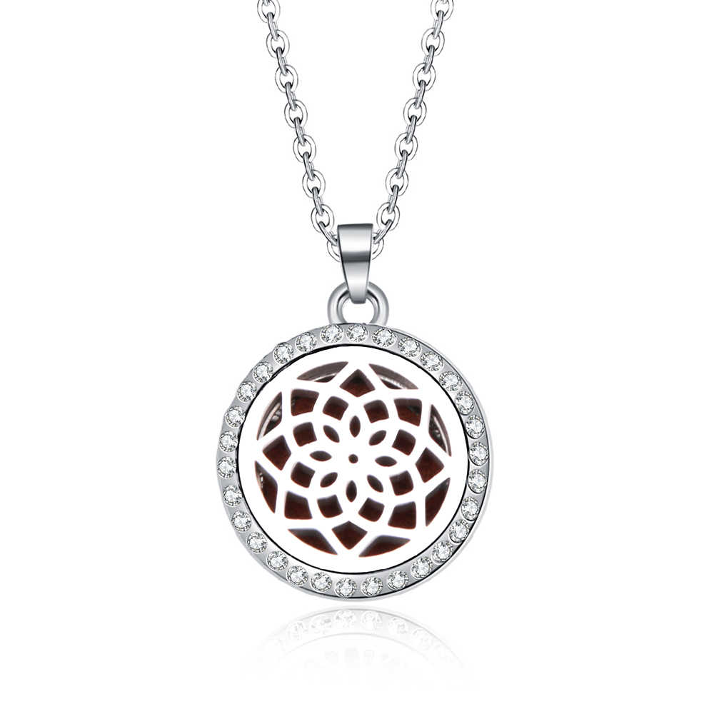 Kaleidoscope Aroma Necklace Magnetic Stainless Steel Aromatherapy Essential Oil Diffuser Perfume Locket Pendant Aroma jewelry