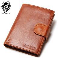 High Quality Vintage Retro 100 Genuine Oil Wax Cowhide Leather Men Long Bifold Wallet Purse Zipper