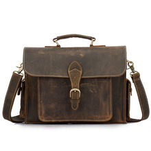 цены Men's Briefcases Genuine Leather Handbag Vintage Laptop Tote Male Messenger Bag Casual Men Shoulder Cross body Bag For Document