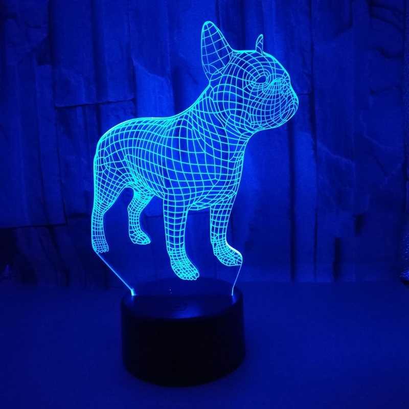 French Bulldog 3D LED Night Light 7 สี USB โฮโลแกรมน่ารัก Puppy Home Decro ตารางโคมไฟของขวัญวันเกิดสำหรับเด็กเพื่อน