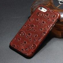 Оригинальный натуральные кожа коровы Чехол для iPhone 7 Plus 7 Plus сотовый телефон Роскошные 3D пиратский череп сзади Чехол