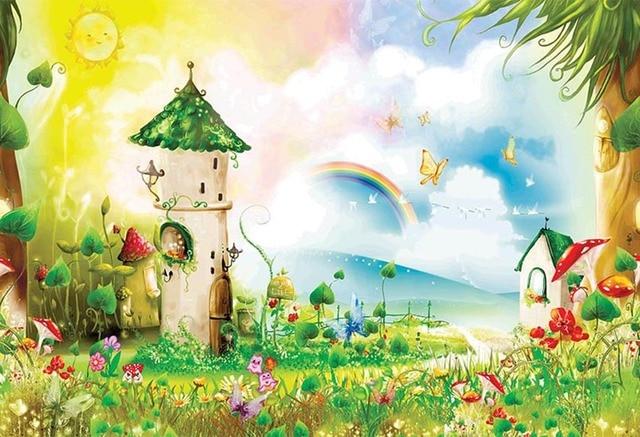 7x5FT Rainbow Sky Fairy Forest Castle Alice Wonderland