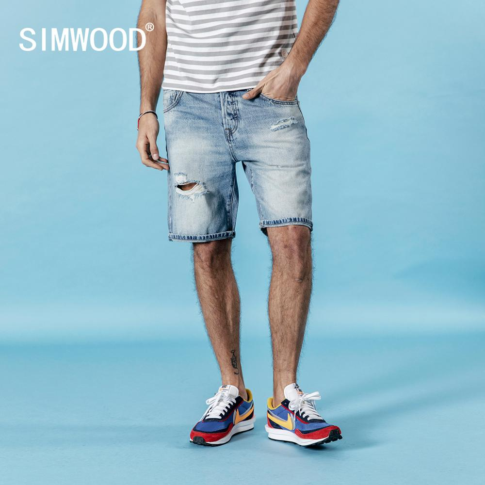 SIMWOOD 2020 Summer New Denim Shorts Men Slim Fit Ripped Hole Fashion Jeans Trousers Male  Plus Size Brand Clothing 180127