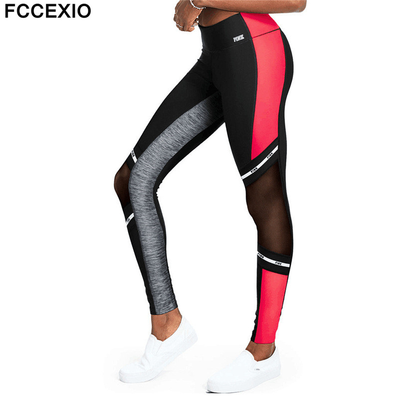 FCCEXIO New 2019 Love Pink Fitness Elastic Sporting   Leggings   Women Workout   Legging   High Waist Sporting Patchwork Women   Leggings