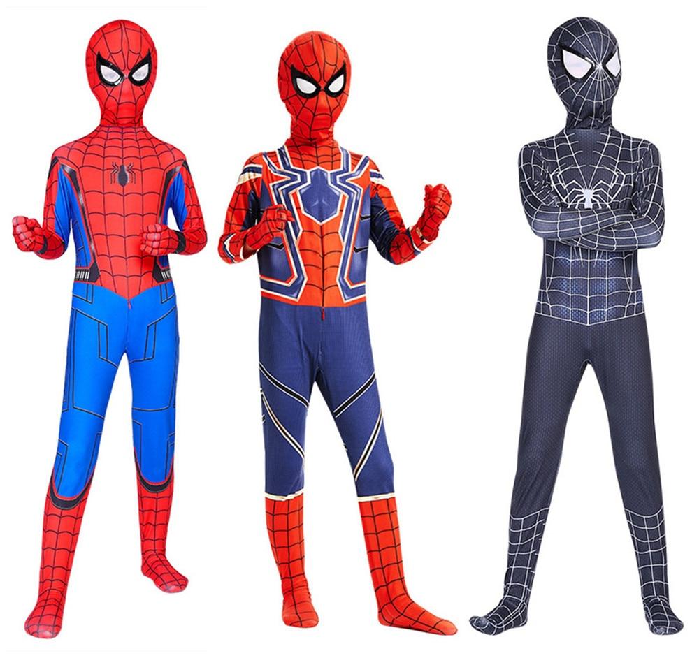 Enfants adulte l'incroyable Spider-man cosplay SpiderMan Zentai Lycra costume body fantaisie robe Halloween combinaisons costumes de fête