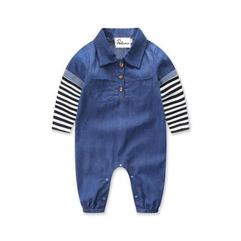 Toddler Infant Baby Boys Denim Striped Romper Kids Newborn Pockets Jeans Long Sleeve Jumpsuit Playsuit Outfits Clothes Sunsuit 2017 summer toddler kids girls striped baby romper off shoulder flare sleeve cotton clothes jumpsuit outfits sunsuit 0 4t