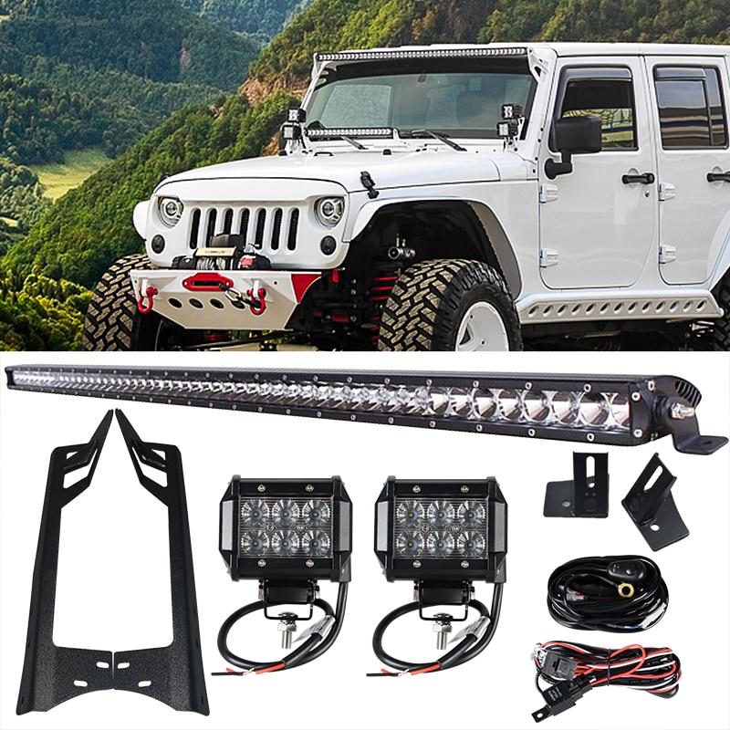 1 x 250W 52'' Offroad LED Light Bar + 2 x 4'' Light Bar Work Light + Mounting Brackets for Jeep Wrangler JK 07-15 4WD Truck  холодильный стол охлаждаемый полюс carboma bar 250