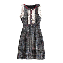 PERHAPS U Tweed Dress Elegant A-line Button Dresses Black Plaid sleeve