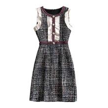 PERHAPS U Tweed Dress Elegant A-line Button Dresses Black Pl