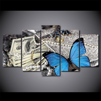 High Quality HD Printed 5 Piece Canvas Painting Wall Pictures For Living Room Modern Butterfly Jewelry