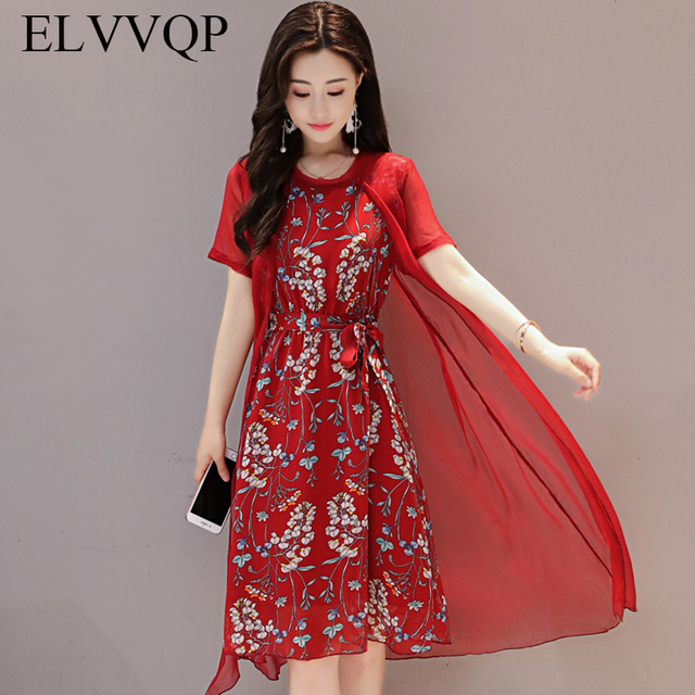 US $36.66  2018 Fashion Summer Elegance Womens Dresses O Neck Floral Print  Loose Two piece Dresses Plus Size A Line Dress Casual LF312-in Dresses from  ...