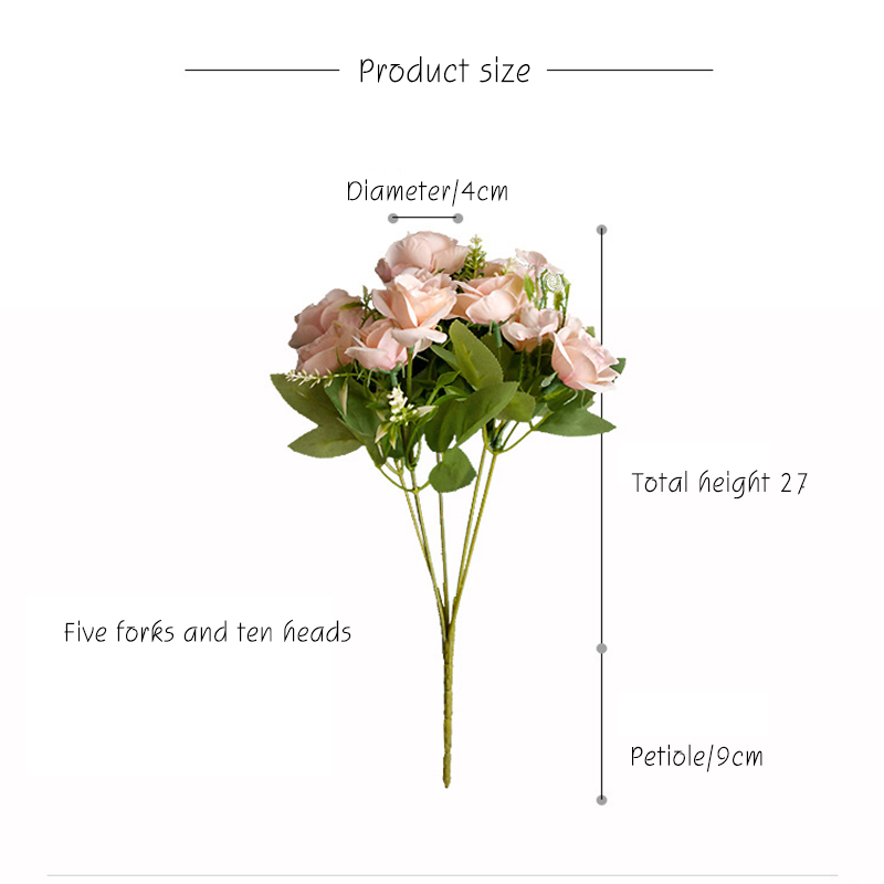 36cm 14in Rose Pink Silk Peony Ins Artificial Flowers Bouquet 10 Big Head Cheap Fake Flowers for Home Wedding Decoration Indoor in Artificial Dried Flowers from Home Garden