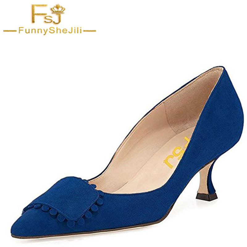 FSJ Summer Women Shoes Blue High Heels Pupms Fashion Flock Wedding Mature Pointed Toe Large Size 4-16 Solid Zapatos Mujer Party new 2017 spring summer women shoes pointed toe high quality brand fashion womens flats ladies plus size 41 sweet flock t179