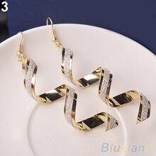 Women Retro Style Fashion Rhinestone Crystal Twist Spiral Eardrops Long Drop Dangle Hook Earrings Jewely Elegant Design 88WS