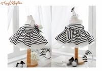 Ball gown Black and White Stripes baby girl dress party 1 year birthday dress frock design for newborn infant
