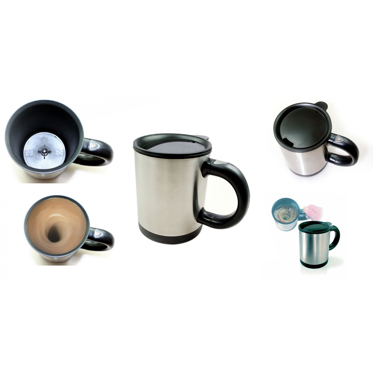 Electric Self Stirring Mug Cup for Coffee Tea Beverage Black