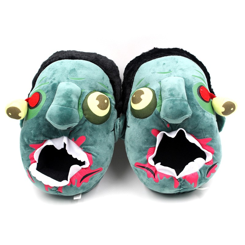 Anime The Walking Dead Zombie Figure Plush Slippers Cosplay Animals Creative Funny Home Soft Shoes PP Cotton with Heel Pantufas (2)