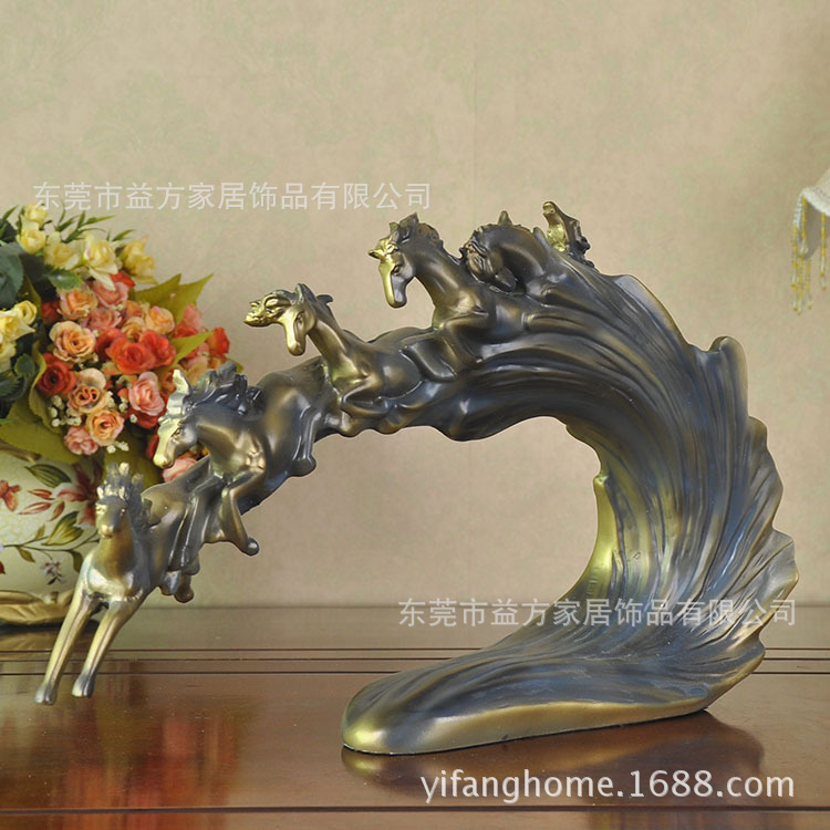 Creative selling horse resin crafts ornaments home six horses Cabinet Desktop promotional business gifts