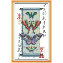 Happiness patterns Counted Cross Stitch Cross-stitch butterfly Cross Stitch Kit for Embroidery Sets Needlework(China)