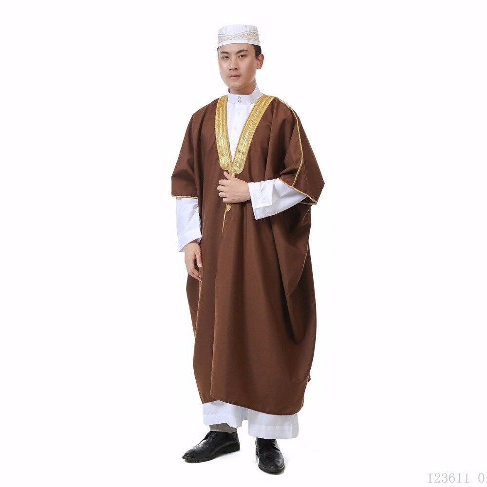 2019 New Muslim suit Men Long Sleeve Thobe Islamic Clothing Saudi Arab Moslim Jurk Clothing Mens