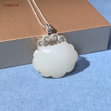 Certified Natural Chinese Hetian White Jade Nephrite S925 Silver Inlaid Jade Pendant High Quality Wonderful Birthday Gifts