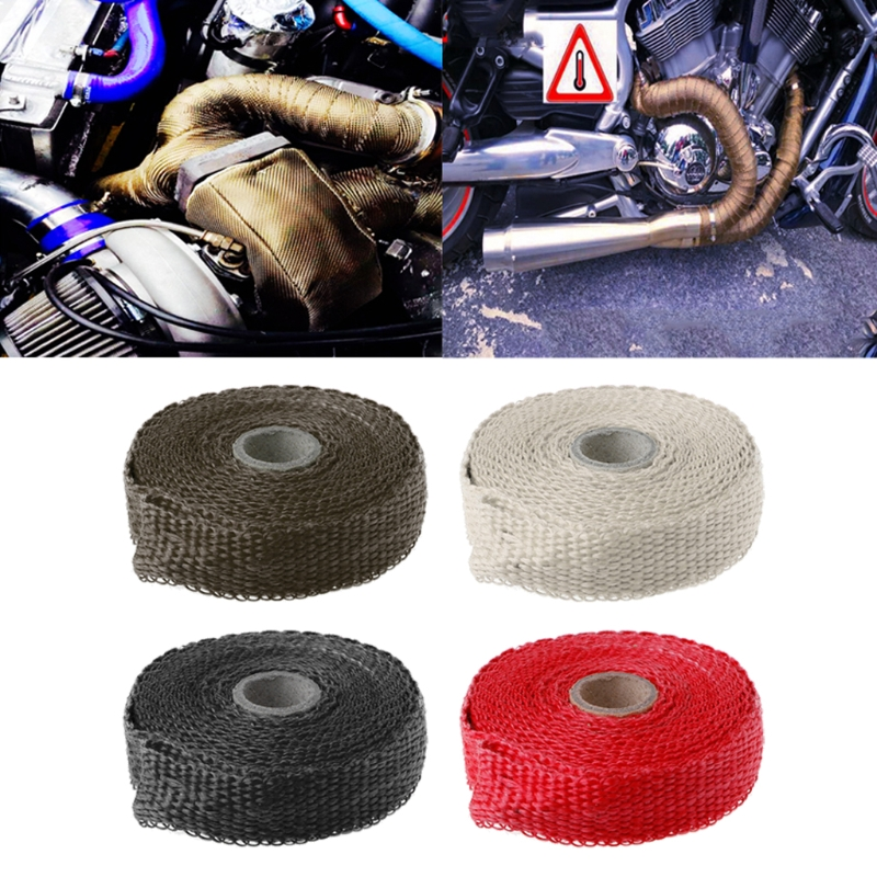 SAILFLO 5M Car Motorcycle Incombustible Turbo Manifold Heat Exhaust Thermal Wrap Tape & Stainless Ties
