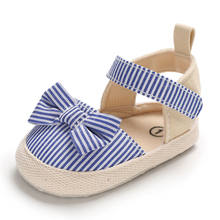 2020 Children Summer Shoes Newborn Infant Baby Girl Boy Soft Crib Shoes Infants Anti-slip Sneaker Striped Bow Prewalker 0-18M(China)