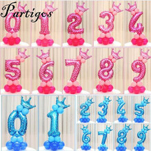19pcs Baby Shower Foil 30inch number  Balloons 2.3g Latex balloon Child 0-9 year old Birthday Party Decor Stand Upright globos