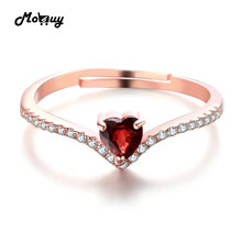 MoBuy MBRI003 Love Heart Red Garnet Adjustable Ring 925 Sterling Silver Rose Gold Plated Natural Gemstone Fine Jewelry For Women