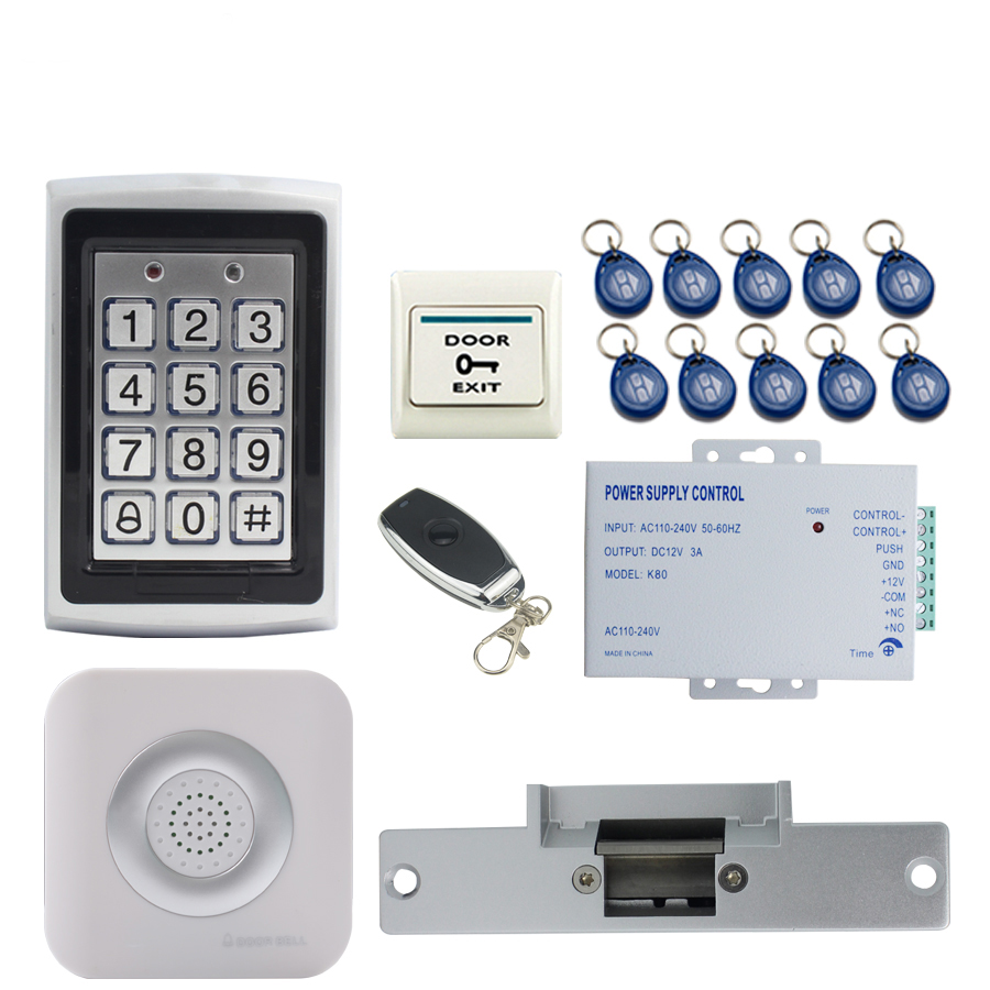 JEX RFID Password Access Controller Metal Waterproof Backlight button Door control system kit + Doorbell+Electric Strike lock diysecur magnetic lock door lock 125khz rfid password keypad access control system security kit for home office