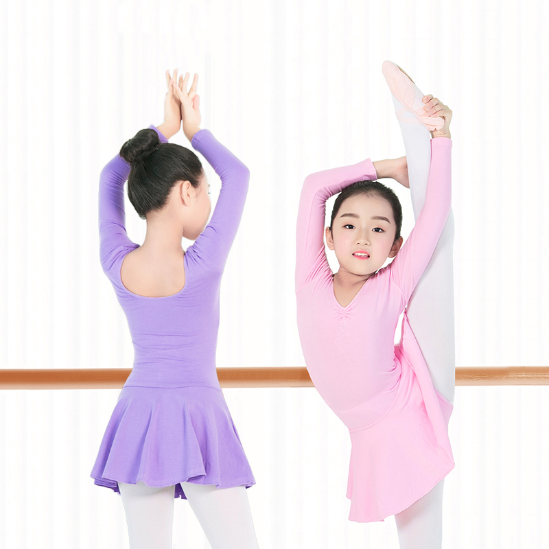 Children Gymnastics Ballet Skirted Leotard Girls Basic Cotton Ballet Dance Leotard Kids Ballerina Dress Dance Costumes