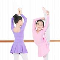 Kinder Gymnastik Ballett Skirted Trikot Mädchen Grundlegende Baumwolle Ballett Tanzen Trikot Kinder Ballerina Kleid Tanz Kostüme