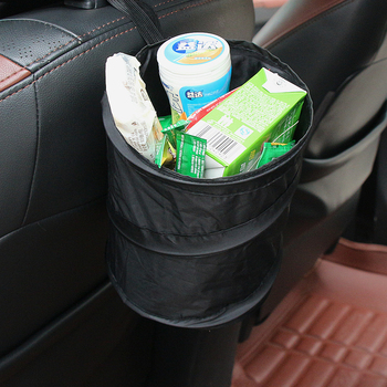 Bell Wastebasket Trash can Litter Container Black Portable Fold Leakproof Universal Travel Car Trash Can Bin