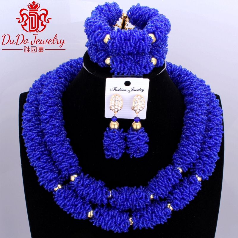 African Royal Blue Jewelry Set Crystal Beads Jewelry Set dubai Women Necklace Set of Jewelry Nigerian Wedding bridal Jewelry Set