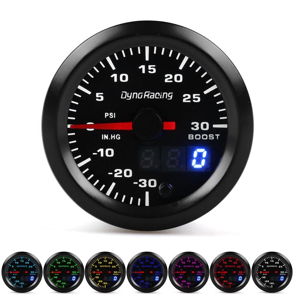 Двойной дисплей Dynoracing, 52 мм, 7 цветов, датчик турбонаддува Psi, измеритель давления с шаговым двигателем, датчик усиления