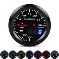 Dynoracing Dual Display 52MM 7 Colors Turbo boost gauge Psi Boost meter with stepper motor Boost sensor