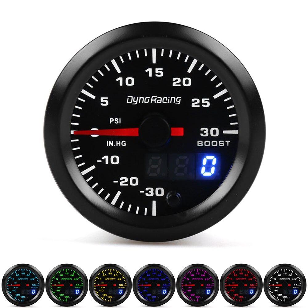 Dynoracing pantalla Dual 52MM 7 colores Turbo boost gauge Psi medidor con motor paso a paso impulso de sensor
