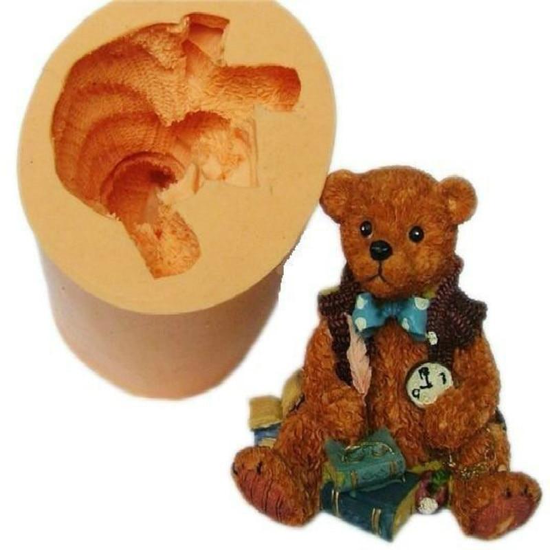 Большая силиконовая форма «Медведь» для гипс, свеча, для изготовления торта, шоколада, мыла, формы в виде медведя, силиконовая форма для цеме