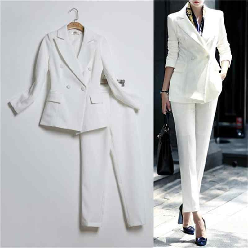New Spring autumn Professional Pantsuits With Jackets And Pants Office ladies Business Women Pant Suits Female Trousers Sets